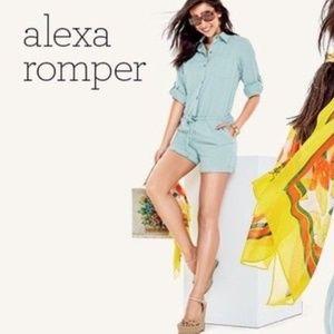 CAbi XS Dusty Teal Alexa Soft Cotton Romper